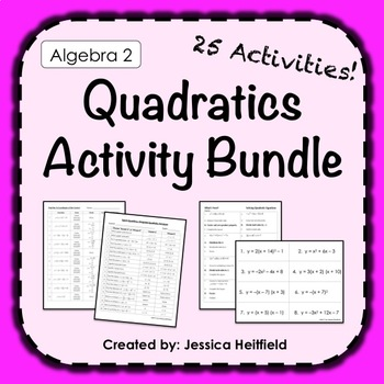 Quadratic Functions Activities Bundle: Algebra 2