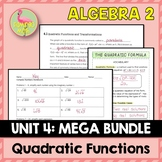 Quadratic Functions and Equations MEGA Bundle (Algebra 2 - Unit 4)