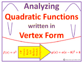 Quadratic Functions - Analyzing Quadratic Functions in Vertex Form