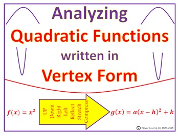 Quadratic Functions - Analyzing Quadratic Functions in Ver