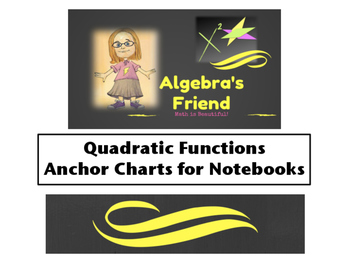 Quadratic Functions Anchor Charts for Math Notebooks