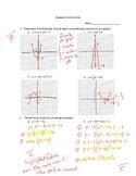 Quadratic Functions Assessments KEY