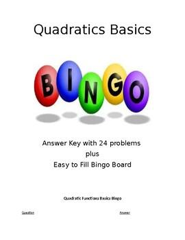 Quadratic Functions Basics Bingo with Easy to Fill Board! Print & Go!