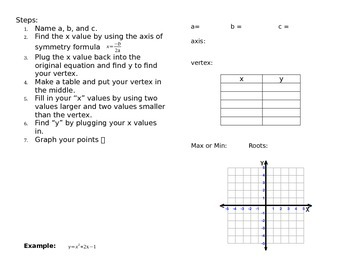 Quadratic Functions Book