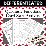 Quadratic Functions Card Sort Activity (Match graph, equation, characteristic)