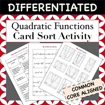 Quadratic Functions Card Sort Activity Match Graph Equation Characteristic