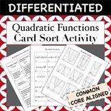 Quadratic Functions Card Sort Activity (Match graph, equation, characteristic)