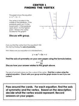 Quadratic Functions Centers with Task Cards