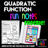 Quadratic Functions Comic Book Doodle Notes Freebie