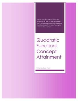 Quadratic Functions Concept Attainment (Lesson)