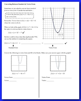 Quadratic Functions: Converting Between Forms (Completing the Square)