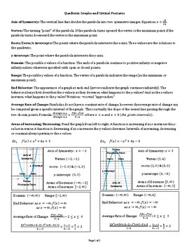 Quadratic Functions & Critical Features