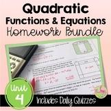 Quadratic Functions Homework (Algebra 2 - Unit 4)
