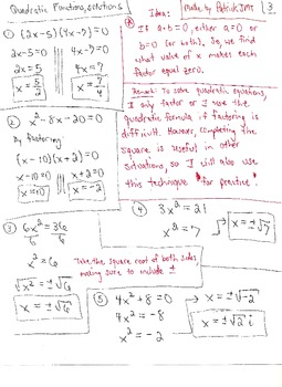 Quadratic Functions : Equations , Inequalities and Graphs