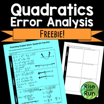 Quadratic Functions Error Analysis Freebie