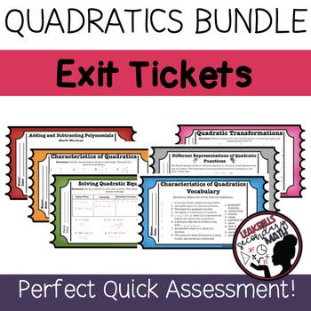 Quadratic Functions Exit Ticket Growing Bundle