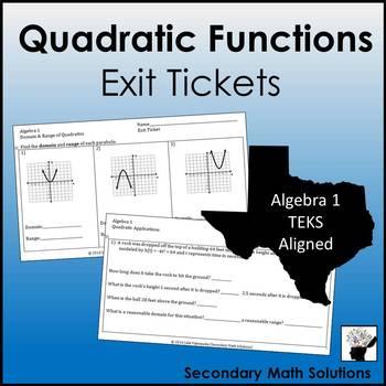 Quadratic Functions Exit Tickets (or Warm-ups) (A7A, A6B, A6C, A6A, A7C)