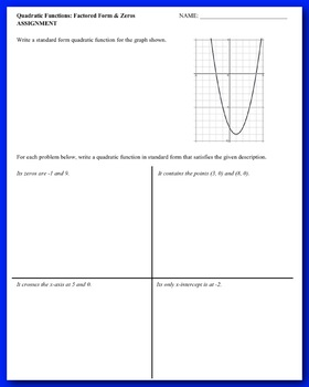 Quadratic Functions: Factored Form and Zeros (Guided Notes & Assessment)