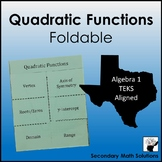 Quadratic Functions Foldable