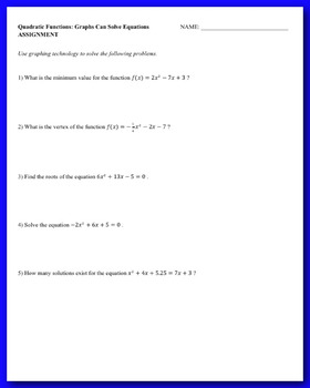 Solving Quadratics by Graphing