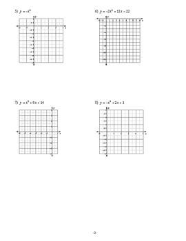 Algebra 1 - Quadratic Functions - Homework Pack