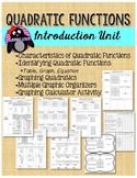 Algebra 1 Quadratic Functions Introduction Unit