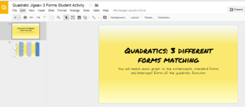 Quadratic Functions Jigsaw Matching Google Slide Interactivity
