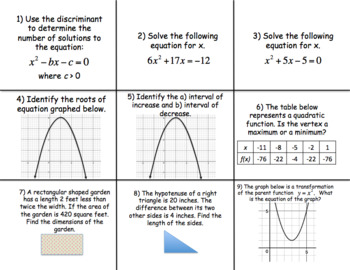 Quadratic Functions - MATH BOARD GAME