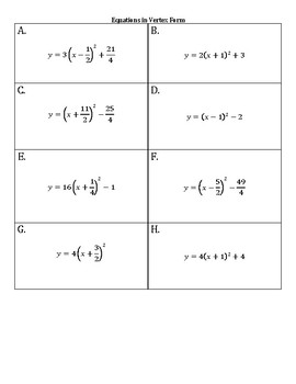 Quadratic Functions Matching Activity