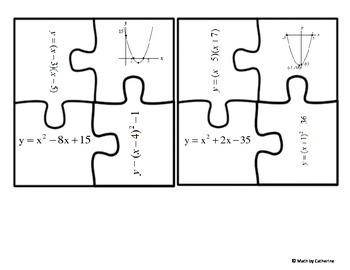 Quadratic Functions Matching Puzzle Activity