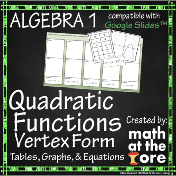 Quadratic Functions - Matching - Tables, Graphs & Equations - GOOGLE Slides