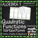 Quadratic Functions - Matching - Tables, Graphs & Equation
