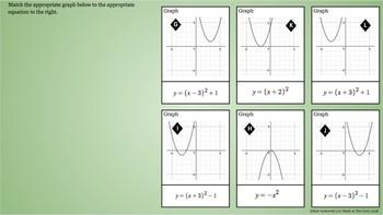 Quadratic Functions - Matching Vertex Form - Graphs & Equations - Google Drive