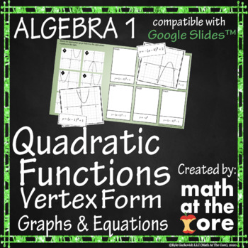 Quadratic Functions - Matching Vertex Form - Graphs & Equations - GOOGLE Slides