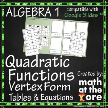 Quadratic Functions - Matching Vertex Form - Tables & Equations - Google Drive