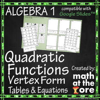 Quadratic Functions - Matching Vertex Form - Tables & Equations - GOOGLE Slides