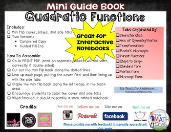 Quadratic Functions: Mini Guide Book