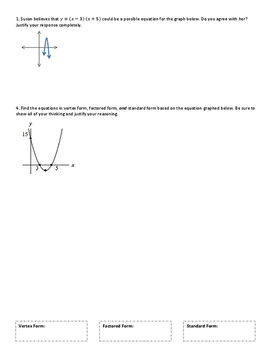Quadratic Functions Multiple Forms Practice Critical Thinking