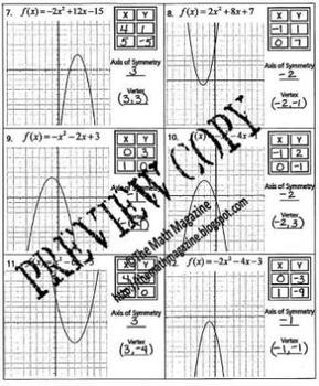 Quadratic Functions Parabola Worksheet A-SSE.3b, A-REI.4, F-IF.7a