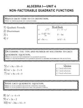 Quadratic Functions Part 2 - Unit 4 Algebra Curriculum and Student Workbook