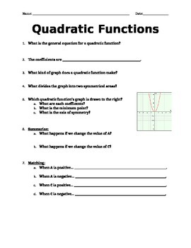 Quadratic Functions PowerPoint Handout