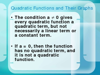 Quadratic Functions PowerPoint