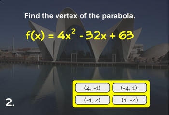 Quadratic Functions Properties with BOOM Cards Digital 1:1 Algebra
