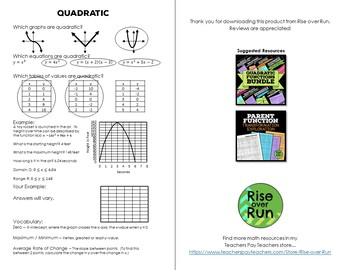 Quadratic Functions Quick Review Assessment