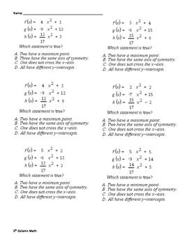 Quadratic Functions (Quiz)