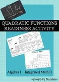 Quadratic Functions Activity (Readiness)