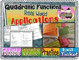 Quadratic Functions Real World Applications Foldable, INB, Practice, Exit