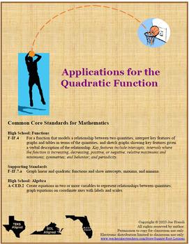 Quadratic Functions Real-World Literacy Lesson
