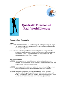 Quadratic Functions Real-World Applications Lesson