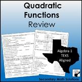 Quadratic Functions Review  (A6A, A7A, A7C, A6B)